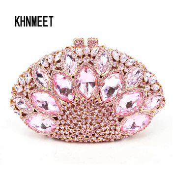 Fashion Luxury Brand Crystal Evening Bag Pink Diamond Clutch Bag nightclub Party Purse Bling Handbag  00106-c