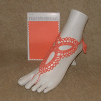 Crochet Barefoot Sandals Davids Bridal Shoes Beachwear   Jewelry Footwear Gift Anklet