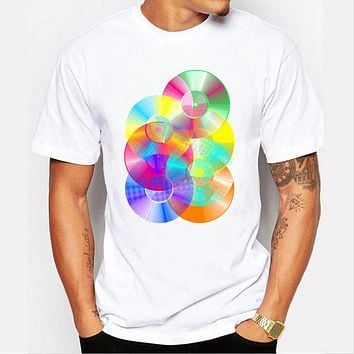 3D digital color CD design Men t-shirt short sleeve casual hipster tops
