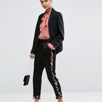 ASOS Premium Jacquard Pants with Floral Binding at asos.com