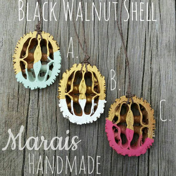 Black Walnut slice pendant necklaces - hand painted walnut slices