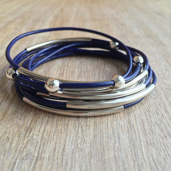 Blue Leather Bangle Bracelets, Boho Wrap Leather, Blue Bangle, Bar Bracelet, Bohemian Jewelry, Stackable Bracelet, Set of 9