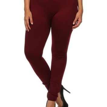 Curvy Fleece Legging, Burgundy