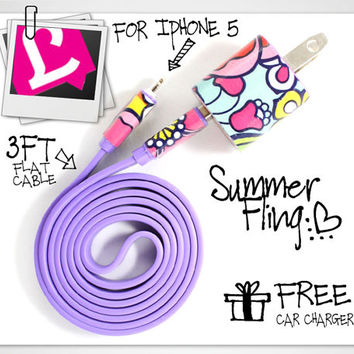 3in1 Purple Summer Fling iPhone Charger (For iPhone 5 and iPhone 4/4s in 3ft and 10ft long cable)