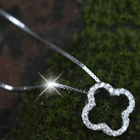 Lucky Clover Four Leaf 925 Silver Pendant Necklace