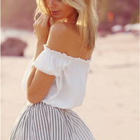 White Off Shoulder Chiffon Pleated Blouse