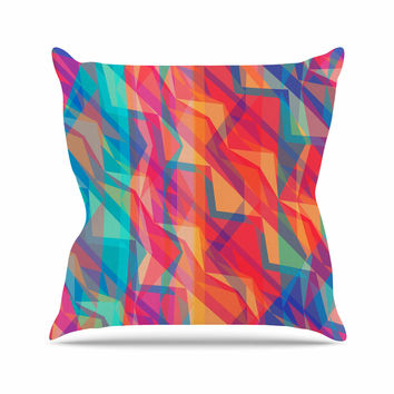 "Miranda Mol ""Triangle Opticals"" Pink Multicolor Outdoor Throw Pillow"