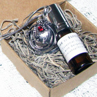 SUNRISE WITH VAMPIRES Inspired by the Vampire Diaries A Perfume and Locket Gift Set of Bergamot and Corianders Spiritual / Therapy Qualities