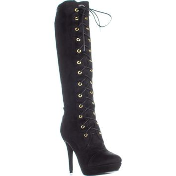 XOXO Normandy Lace-Up Knee High Platform Boots, Black, 8 US / 39 EU