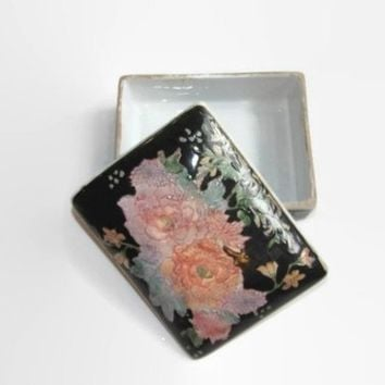 Vintage Rose Trinket Box, Macau Porcelain Jewelry Box, Vintage Floral Box