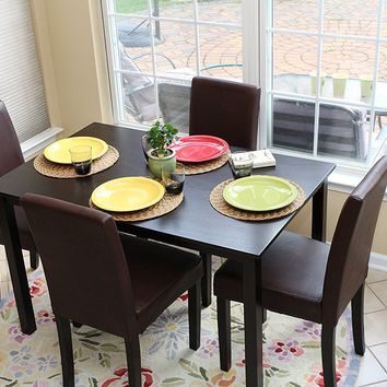 New Century® 5 Pieces Brown Faux Leather 4 Person Dining Table With Chairs
