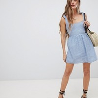 Emory Park Sun Dress With Tie Shoulders In Mini Gingham | ASOS