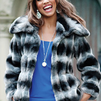 Grey Chinchilla Faux Fur Couture Jacket | Fabulous-Furs