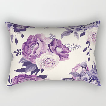 Purple floral boho pattern Rectangular Pillow by printapix