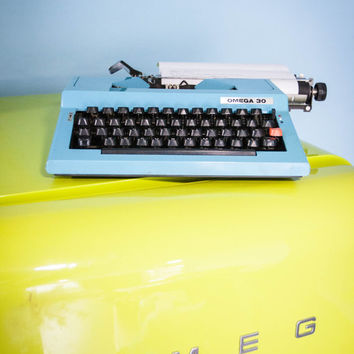 Vintage Manual Typewriter, Blue Working Typewriter, Omega 30 Typewriter, Office Home Decor, Studio Decor, QWERTY Keyboard
