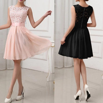 New Fashion Women Sexy Lace Chiffon Dresses Formal OL Working Elegant Dress Plus Sizes Vestidos