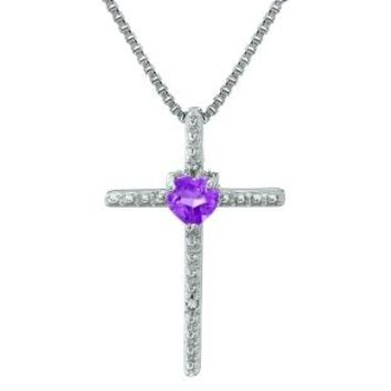 Sterling Silver Heart Cross Pendant with Diamond Accent