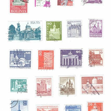 20 Vintage Architecture World Postage Stamps, Paper Ephemera Crafts DIY Project Nature Collage Art Stationery Decoupage Scrapbook Supplies