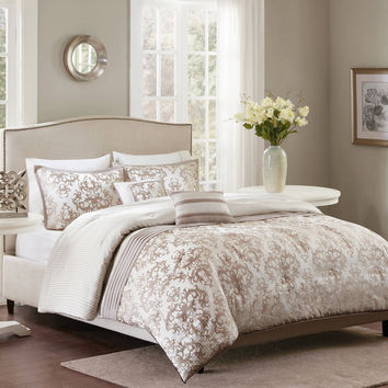 Better Homes and Gardens Ivory Damask Pleats Comforter Set Full/Queen