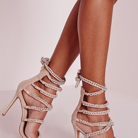 Missguided - Peace + Love Chain Strap Heeled Sandals Nude