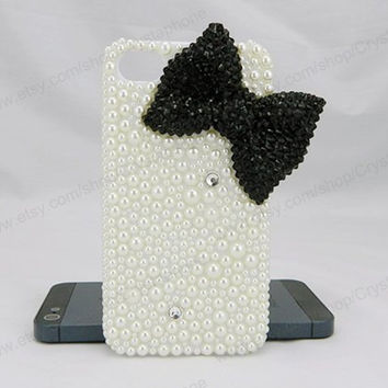 Black bow Pearl Butterfly bling iphone 6 case iphone 6 case iphone 5S 5c iphone 4 case samsung galaxy s4 case note3 s3 case bling crystal