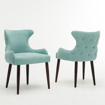 New Century® Set of 2 Contemporary Teal Tufted Microfiber Accent Chairs