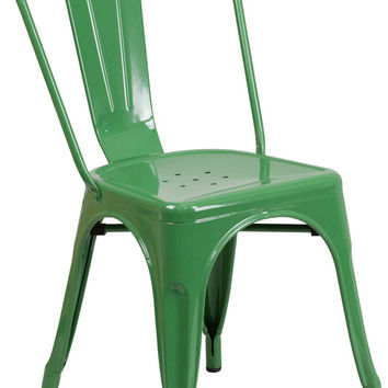 Tolix Style Green Metal Indoor-Outdoor Chair