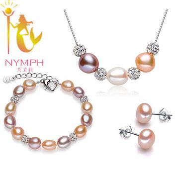 [NYMPH] Pearl Jewelry Set Real Fresh Water Pearl Neckalce Bracelet Earrings Fine Jewlery Party For Women [set2002]