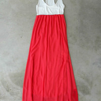 Coral Tides Maxi Dress [5177] - $42.00 : Vintage Inspired Clothing & Affordable Dresses, deloom | Modern. Vintage. Crafted.