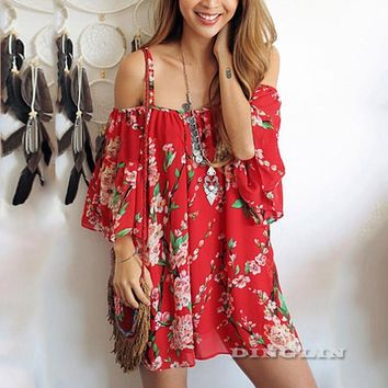 GZDL Sexy Women Summer Vintage Off Shoulder Boho Draped Dress Red Printed Backless Chiffon Beach Party Dresses Vestidos CL2912