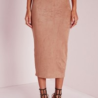 Missguided - Longline Faux Suede Midi Skirt Camel