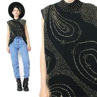 90s Vintage Beaded Sweater Top Sleeveless Sweater Stretchy Mock Neck Black Gold Embellishment Top Abstract Pattern Sleeveless Jumper (XL)