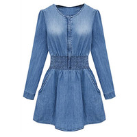 'The Molly' Long Sleeve Denim Mini Dress