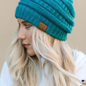 Knitted Pull On Beanie -  Teal