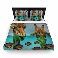 "Suzanne Carter ""Larry & Fred Periscope"" Mixed Media Animals Woven Duvet Cover"