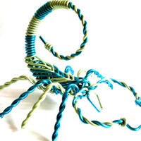 Scorpion Wire Sculpture Aluminium Metal 6 Inch Hand-Made Astrology Scorpio Decorative