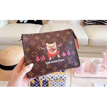 LV hot selling printed graffiti lady briefcase fashionable Make up bag