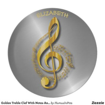 Golden Treble Clef With Notes And Shadows Dinner Plate