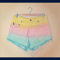 Rainbow dip dye ombre vintage high waisted denim shorts