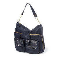 Nopa Faux Leather Hobo Bag with Stud Detailing