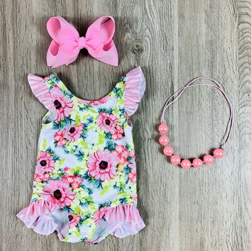 RTS Pink & Green Floral One Piece Swimsuit With Ruffles D97