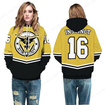 Yellow Team Instinct #16 Womens Skateboarding Sweatshirt Pokemon Go Zapdos Hoodies Pullover Winter Hooded Sweater Jumper