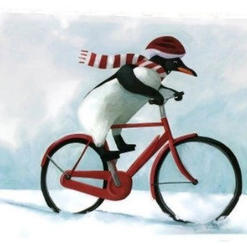 Penguin on a Bike - Christmas Cards Boxed, Holiday Cards, Animal Christmas Card