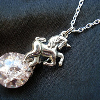 Unicorn Pink Crystal Crackle Glass Marble Chain Necklace