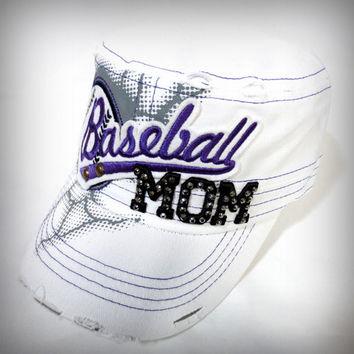 Baseball Mom Hat (White)