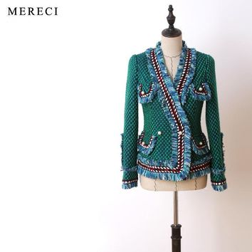 New the cut his haute couture Autumn and winter green flowers long sleeve braided hair heavy small sweet wind coat