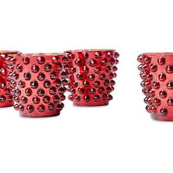 Dot Glass Votives, Red, Set of 4, Votive Holders