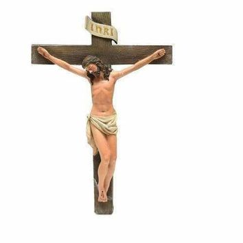 "12"" Religious Inspirational ""INRI"" Jesus on Crucifix Christmas Wall Figure"