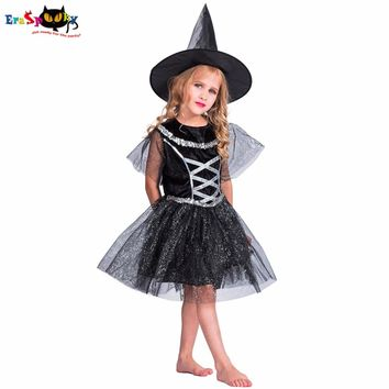 Eraspooky costume for kids fairy 2018 black witch halloween cosplay girls glitter carnaval party children dress for 4- 14 years