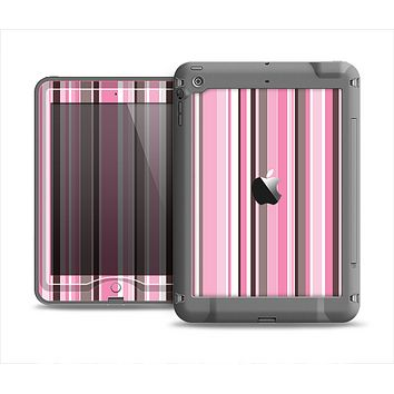 The Pink and Brown Fashion Stripes Apple iPad Mini LifeProof Nuud Case Skin Set